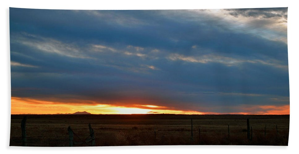 Landscape Bath Sheet featuring the photograph Country Sunset by Pam Romjue