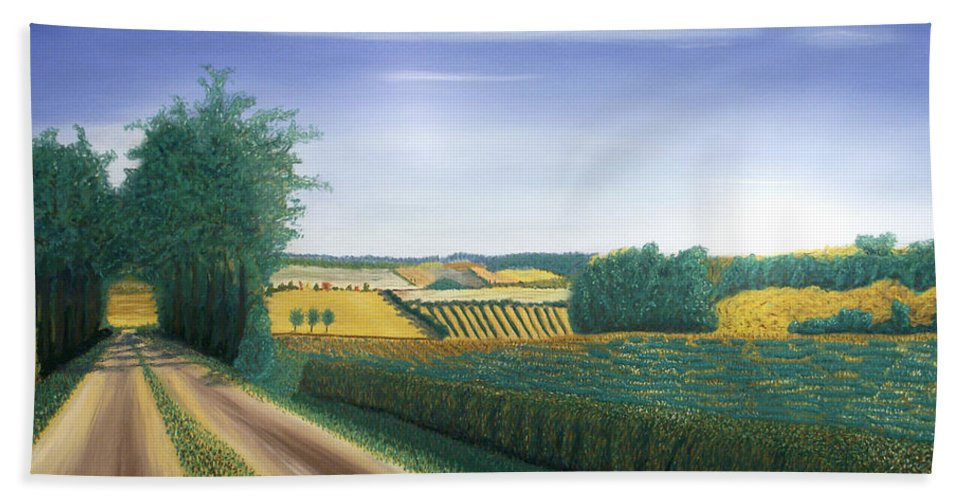 Landscape Hand Towel featuring the pastel Countryside by George Burr