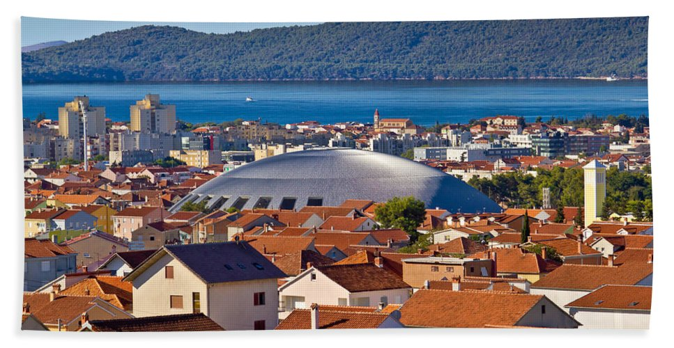 Hall Hand Towel featuring the photograph Coupola Sports Hall Landmark In Zadar by Brch Photography