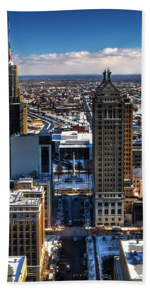 Winter Hand Towel featuring the photograph Court Street Winter 2013 by Michael Frank Jr