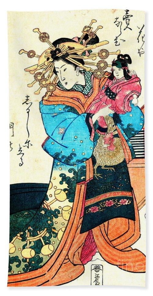 Courtesan Takimoto 1818 Hand Towel featuring the photograph Courtesan Takimoto 1818 by Padre Art