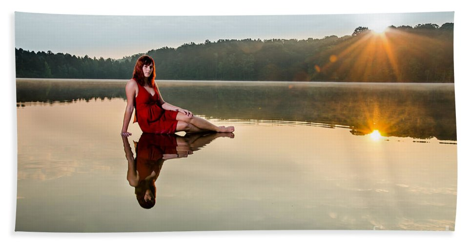 Beautiful Bath Sheet featuring the photograph Courtney On The Water by Jh Photos