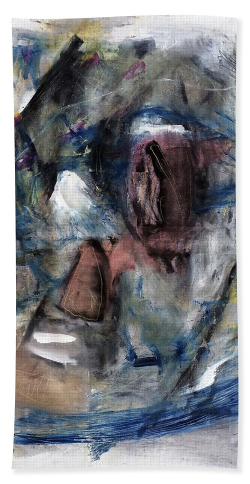 Abstract Art Bath Sheet featuring the painting Courtship by Antonio Ortiz