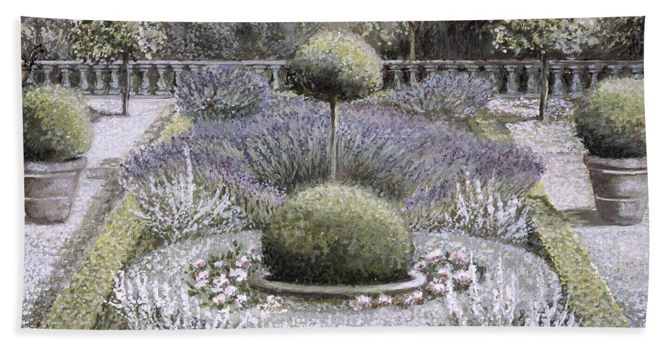 Formal Bath Sheet featuring the painting Courtyard Garden by Ariel Luke