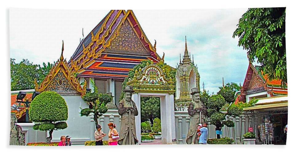 Courtyard In Wat Po In Bangkok Hand Towel featuring the photograph Courtyard In Wat Po In Bangkok-thailand by Ruth Hager