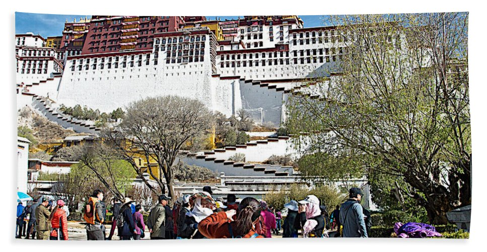 Courtyard Of Potala Palace In Lhasa Bath Sheet featuring the photograph Courtyard Of Potala Palace In Lhasa-tibet by Ruth Hager