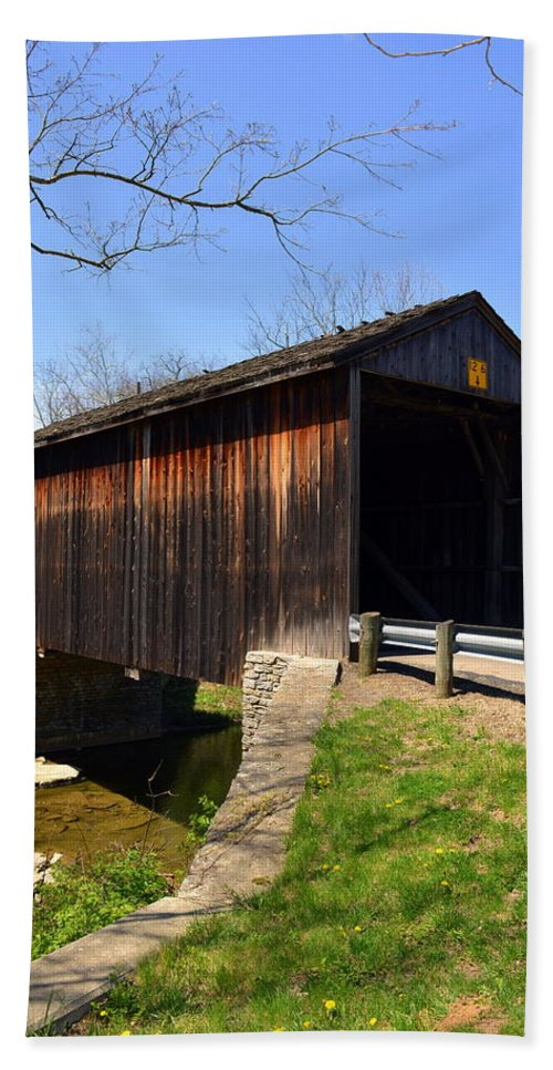 Bridge Hand Towel featuring the photograph Jediha Hill Covered Bridge In Mt. Healthy by Kathy Barney