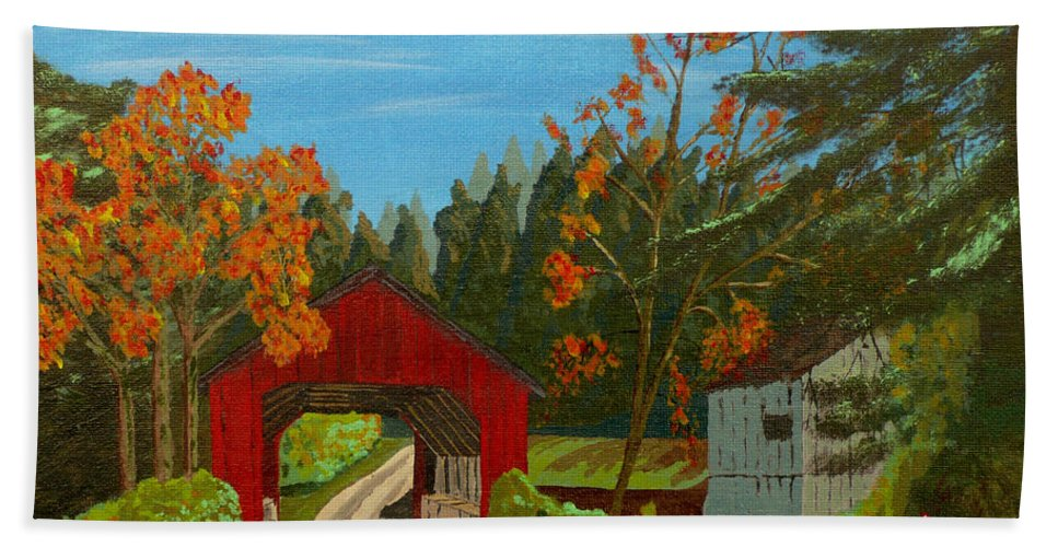 Path Hand Towel featuring the painting Covered Bridge by Anthony Dunphy