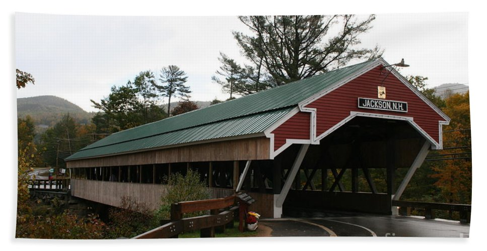 Covered Bridge Hand Towel featuring the photograph Covered Bridge Jackson by Christiane Schulze Art And Photography
