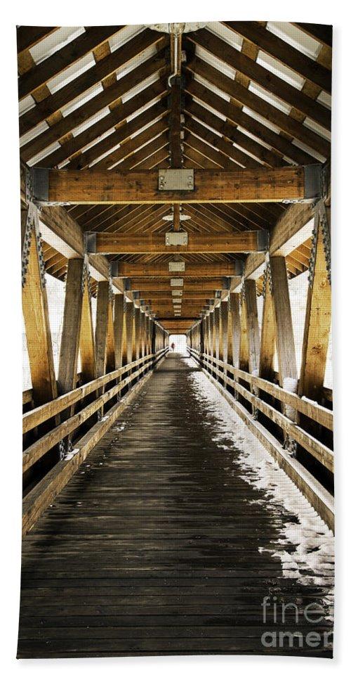 Covered Bridge Hand Towel featuring the photograph Covered Bridge Littleton New Hampshire by Glenn Gordon