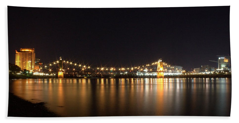 River Bath Sheet featuring the photograph Covington Skyline I by Artistic Explorer Creations By Gregg L Walker