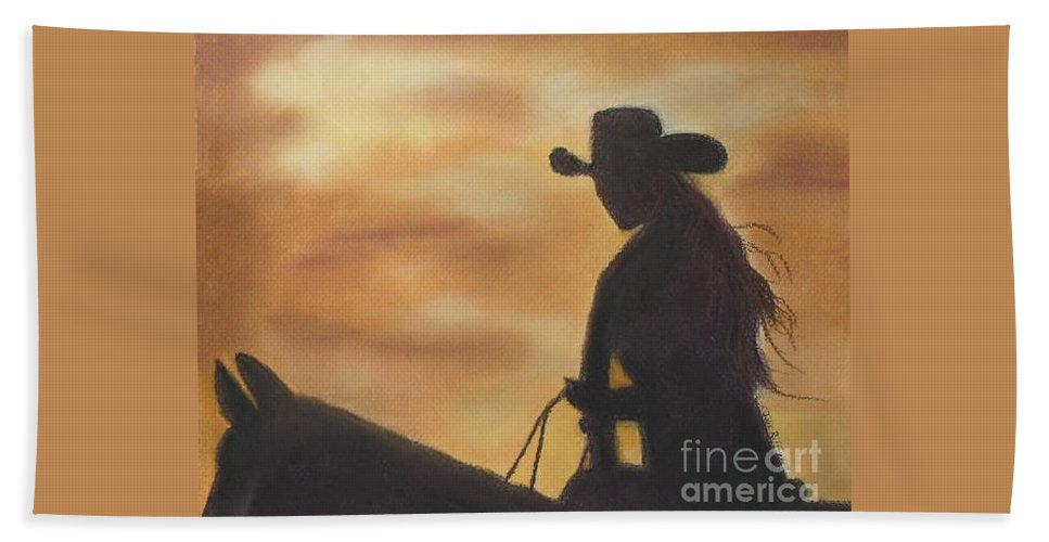 Cowgirl Bath Sheet featuring the pastel Cow Girl At Sunset by Julie Brugh Riffey
