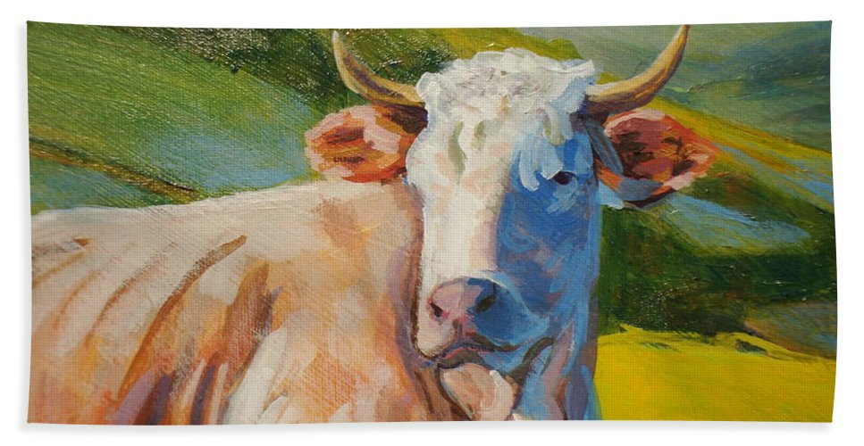 Cow Bath Sheet featuring the painting Cow Lying Down by Mike Jory