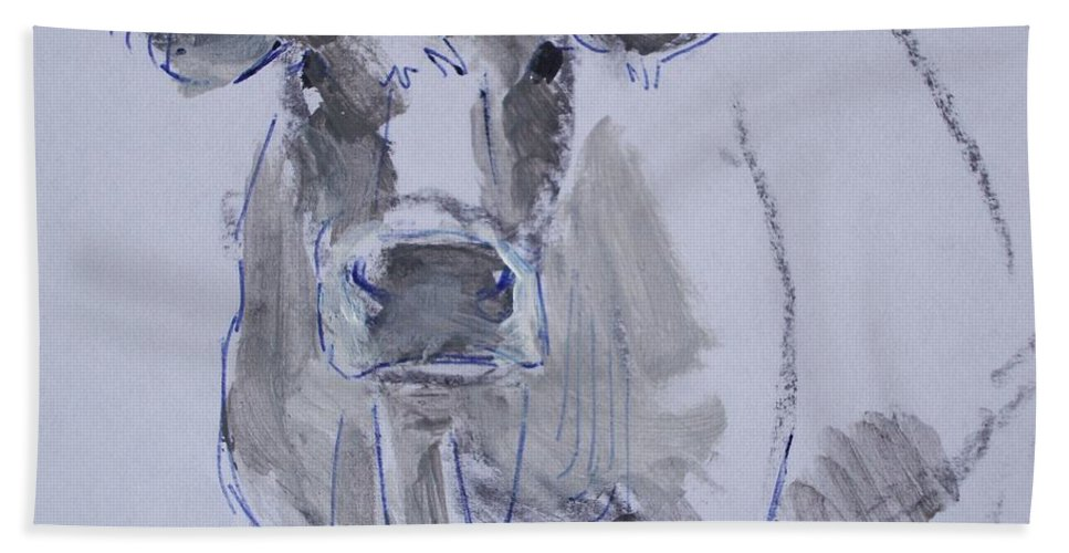 Cow Hand Towel featuring the painting Cow by Mike Jory