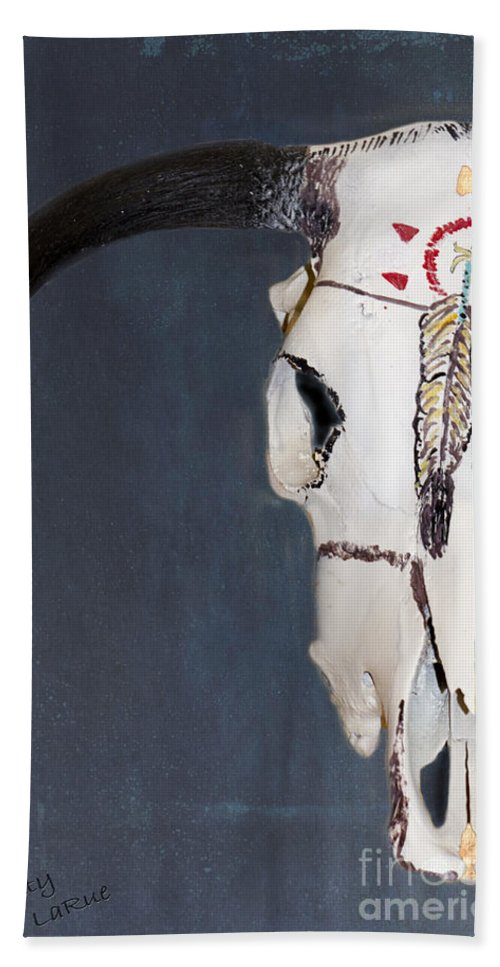 American Indian Art Bath Sheet featuring the photograph Cow Skull In Blue by Betty LaRue