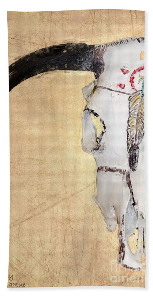 American Indian Art Bath Sheet featuring the photograph Cow Skull In Yellow by Betty LaRue