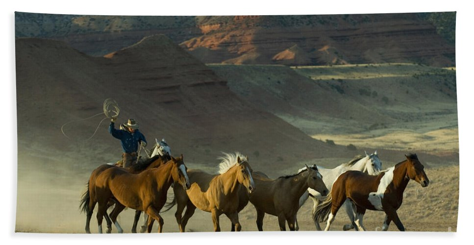 Cowboy Hand Towel featuring the photograph Cowboy Driving Horses by John Shaw