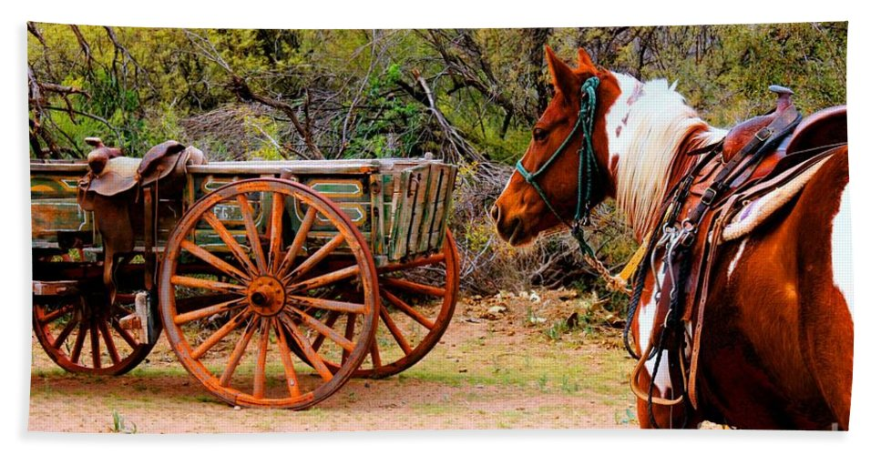 Western Destinations Bath Sheet featuring the photograph Cowboy Up by Tap On Photo