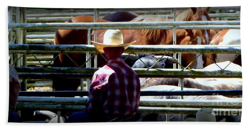 St. Paul Rodeo Time Bath Sheet featuring the photograph Cowboys Corral by Susan Garren