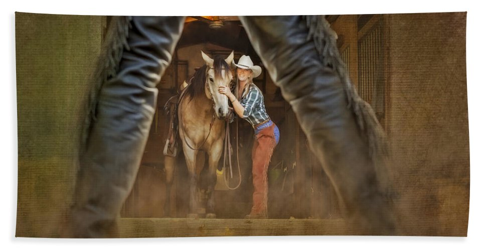 Animals Hand Towel featuring the photograph Cowgirl And Cowboy by Susan Candelario