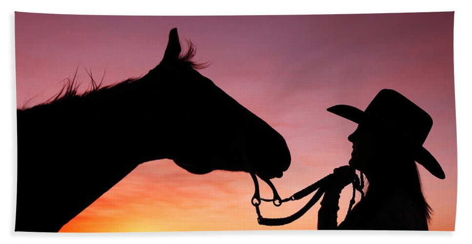 Cowgirl Hand Towel featuring the photograph Cowgirl Sunset by Todd Klassy