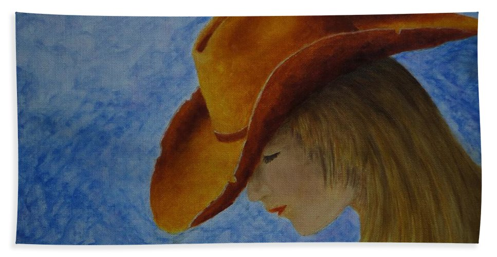 Cowgirl Hat Hand Towel featuring the painting Cowgirl by Xochi Hughes Madera