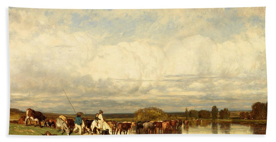 Jules Dupre Hand Towel featuring the painting Cows Crossing A Ford by Jules Dupre