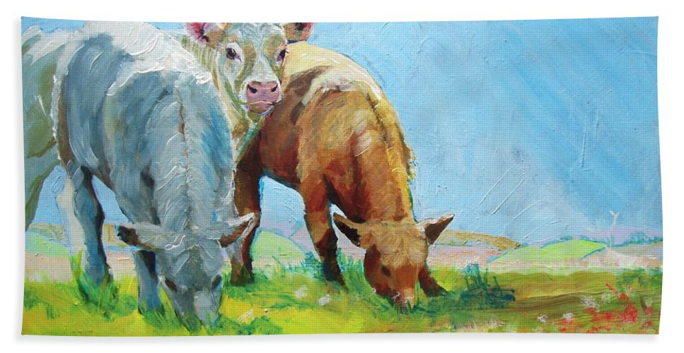 Cow Bath Sheet featuring the painting Cows Landscape by Mike Jory
