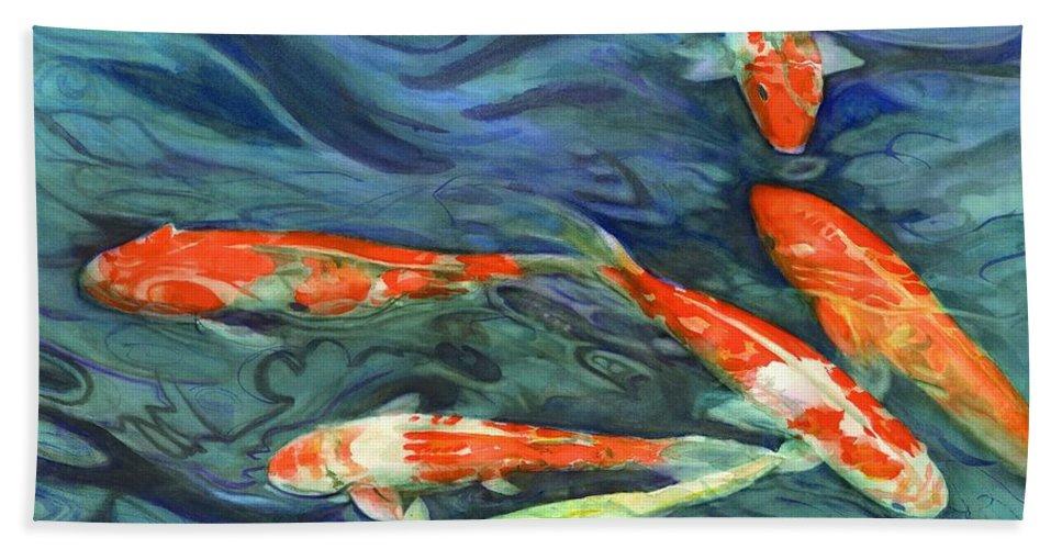 Koi Bath Sheet featuring the painting Coy Koi by Rebecca Gottesman