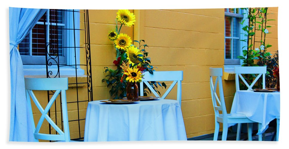 Table Hand Towel featuring the photograph Cozy Table For Two by Cynthia Guinn
