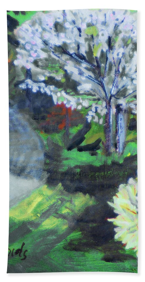 Tree Bath Sheet featuring the painting Crab Apple Tree by Michael Daniels