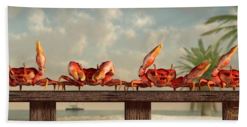 Ymca Bath Sheet featuring the digital art Crab Dance by Daniel Eskridge