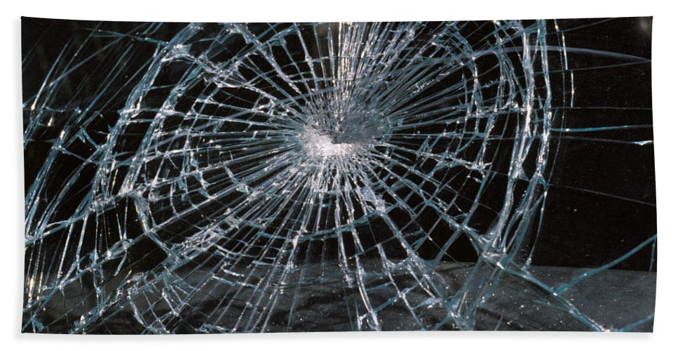 No People; Horizontal; Outdoors; Day; Full Frame; Car; Pattern; Security; Cracked; Glass; Windshield; Danger; Car Accident Bath Sheet featuring the photograph Cracked Glass Of Car Windshield by Anonymous