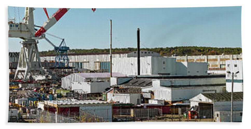 Photography Bath Sheet featuring the photograph Cranes At Metal Factory, Bath by Panoramic Images