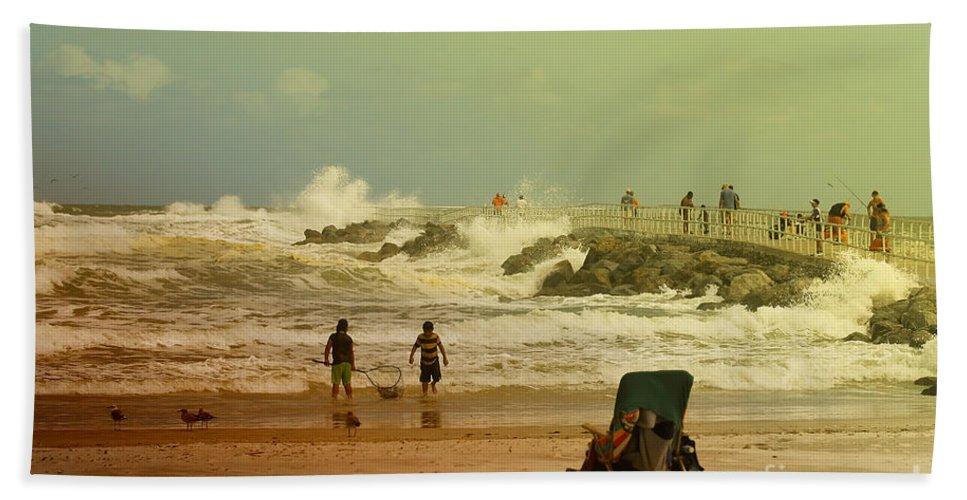 Beach Bath Sheet featuring the photograph Crash Of The Waves by Deborah Benoit