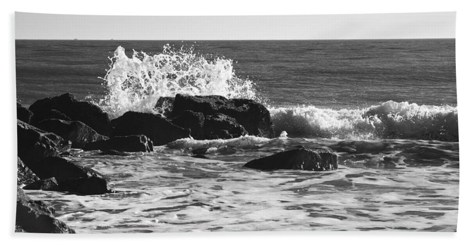 Cape May Hand Towel featuring the photograph Crashing Waves by Jennifer Ancker