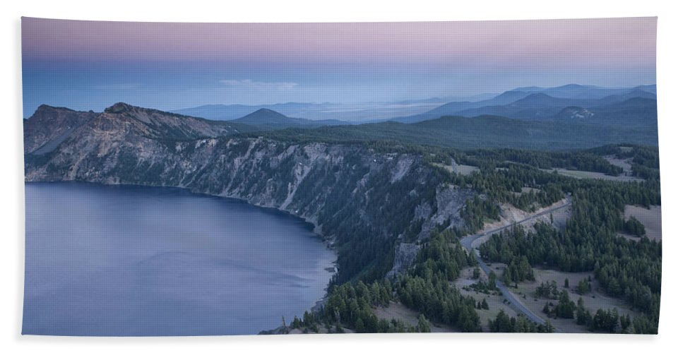 Crater Lake Bath Sheet featuring the photograph Crater Lake Sunset by Melany Sarafis