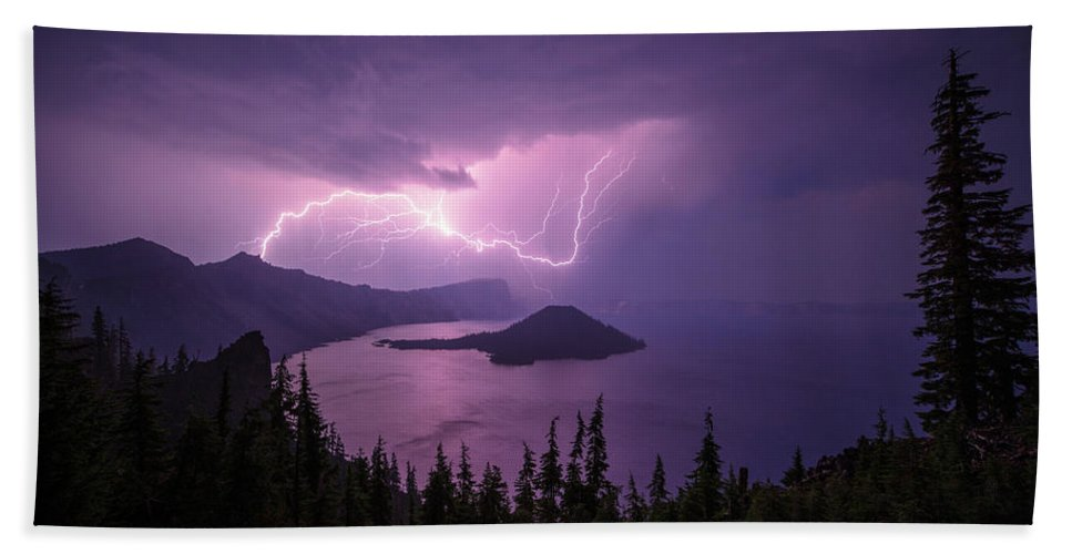 Crater Storm Bath Towel featuring the photograph Crater Storm by Chad Dutson