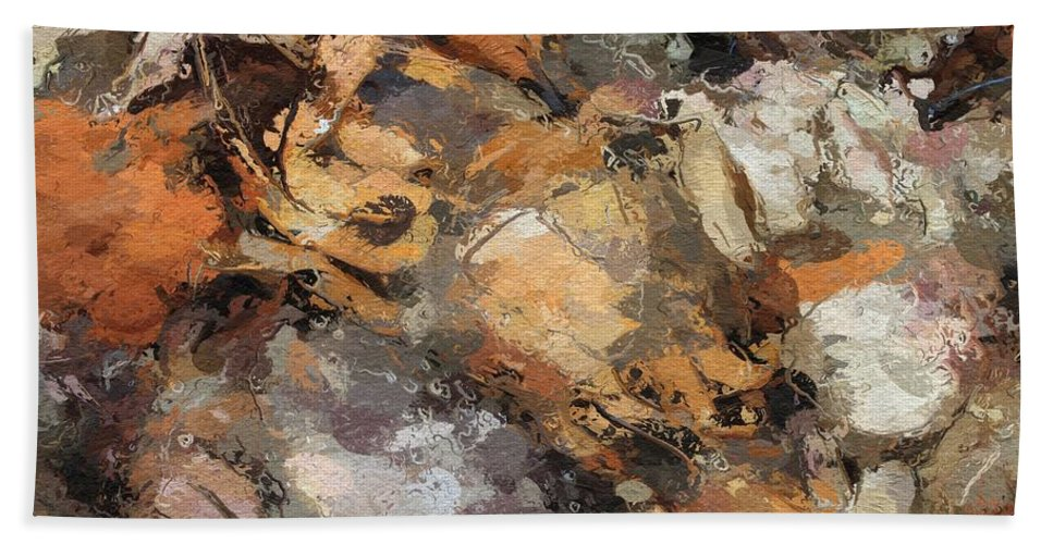 Crawfish Crab Sea Seafood Crayfish Abstract Restaurant Abstract Expressionism Bath Sheet featuring the painting Crawfish by Steve K