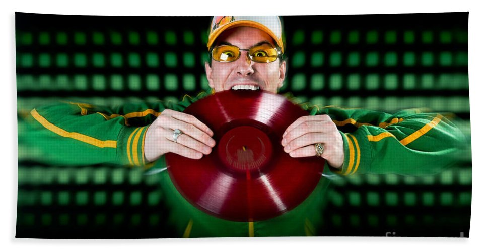 Music Bath Sheet featuring the photograph Crazy Dj by Jt PhotoDesign