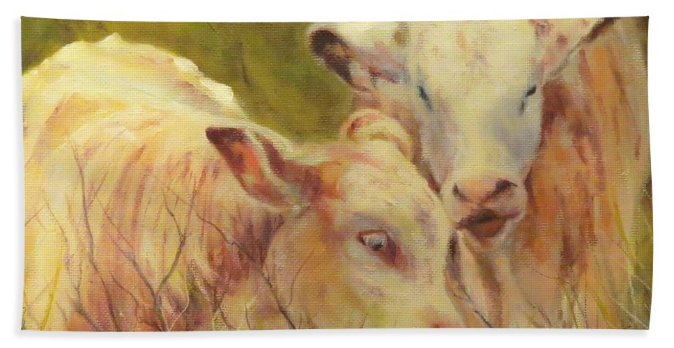 Calves Hand Towel featuring the painting Cream And Sugar, Cows by Sandra Reeves