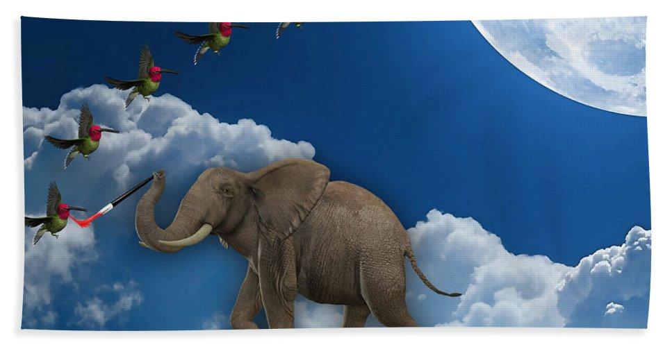 Elephant Bath Sheet featuring the mixed media Creation by Marvin Blaine