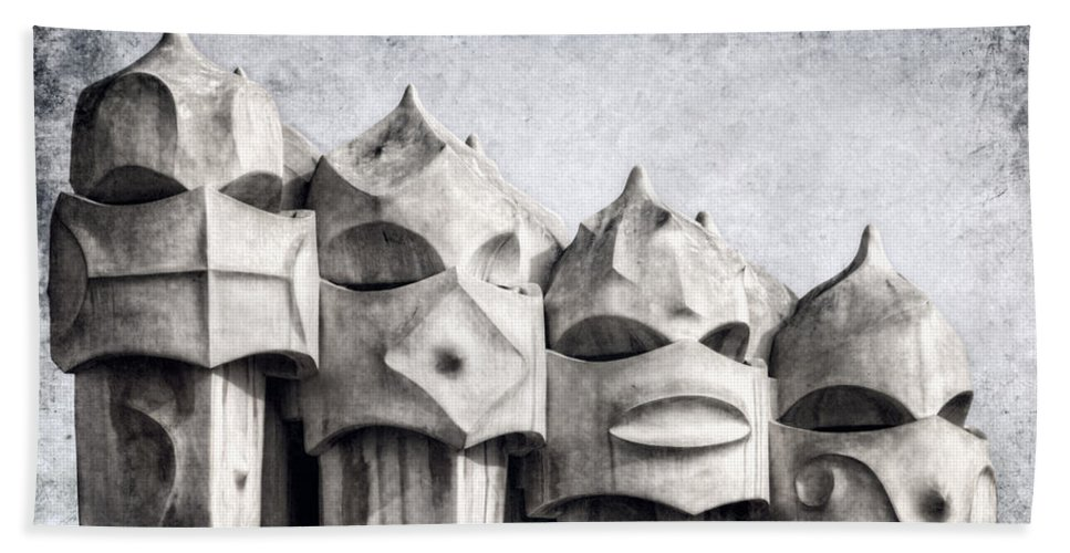 Modern Bath Sheet featuring the photograph Creatures Of La Pedrera Bw by Joan Carroll