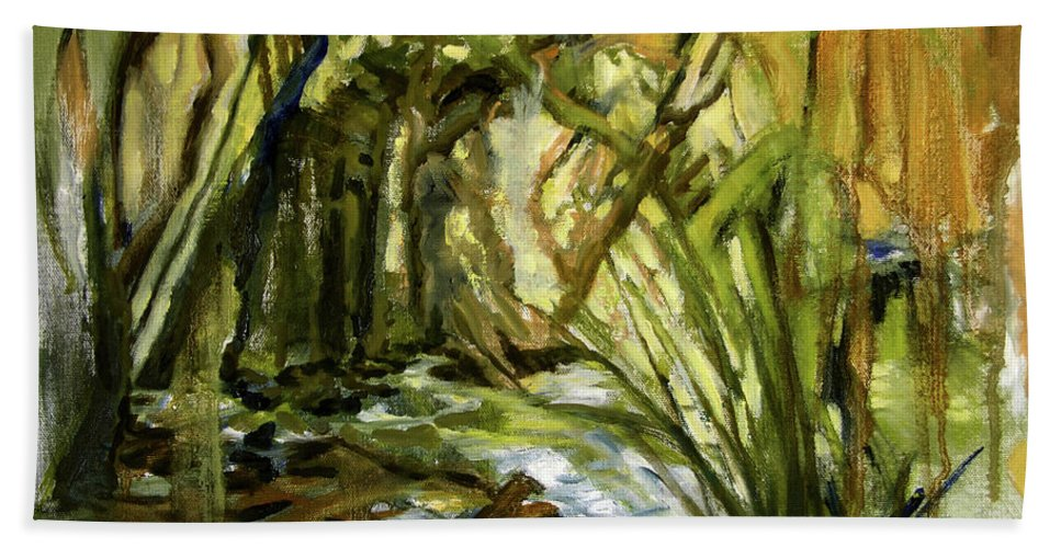 Nature Bath Towel featuring the painting Creek Levels With Overhang by Julianne Felton