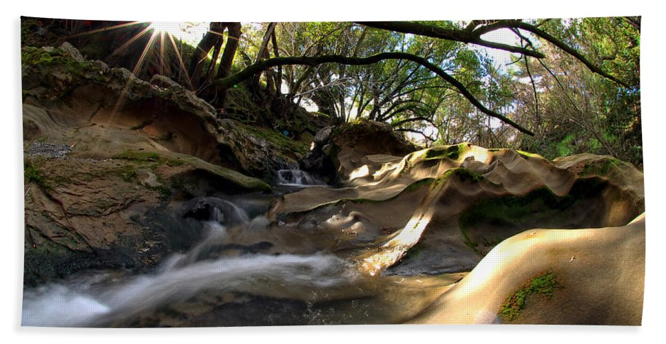 Landscape Bath Sheet featuring the photograph Creekside Sunrise by Donna Blackhall