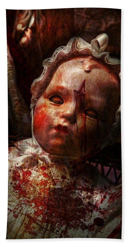 Doll Hand Towel featuring the photograph Creepy - Doll - It's Best To Let Them Sleep by Mike Savad