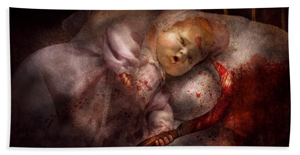 Doll Hand Towel featuring the digital art Creepy - Doll - Night Terrors by Mike Savad