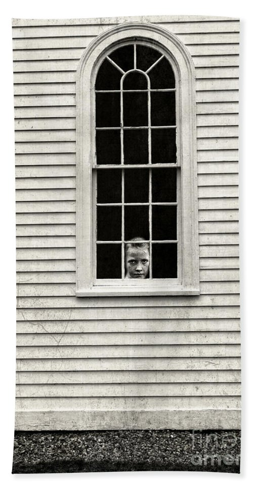 Window Hand Towel featuring the photograph Creepy Victorian Girl Looking Out Window by Edward Fielding