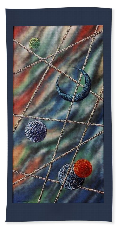 Abstract Bath Towel featuring the painting Crescent by Micah Guenther