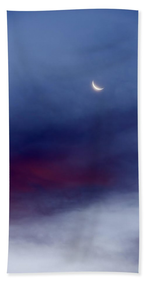 Moon Hand Towel featuring the photograph Crescent Moon Sunrise by Vishwanath Bhat